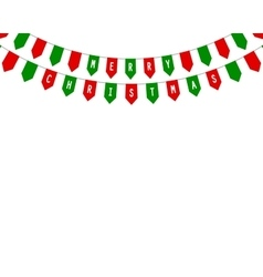 Decorative flags on greeting card happy Christmas vector image