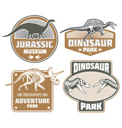 Dinosaur label design - vintage dino land banners vector