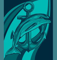 dolphin around an anchor vector image