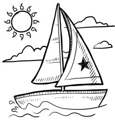 doodle sailboat vector image
