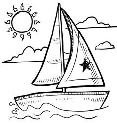 Doodle sailboat vector