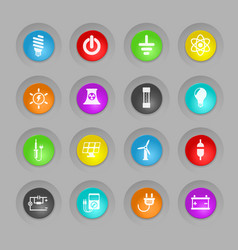 Electricity colored plastic round buttons icon set vector
