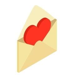 Envelope with valentine heart isometric 3d icon vector image