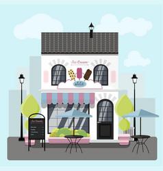 Facade an ice cream parlor with a summer vector