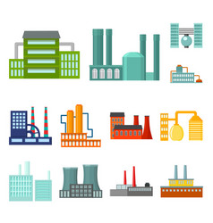 factory and facilities cartoon icons in set vector image