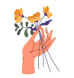 Female hand holding flower bouquet in bloom vector