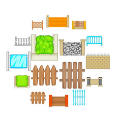 fencing modules icons set cartoon style vector image