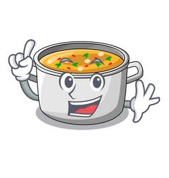 Finger cartoon homemade stew soup in the pot vector