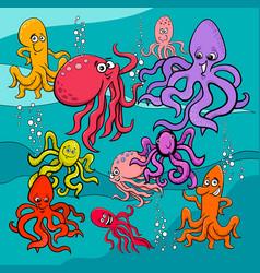 fish cartoon characters group vector image