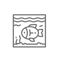 Fish in aquarium line icon vector