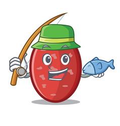 Fishing salami mascot cartoon style vector