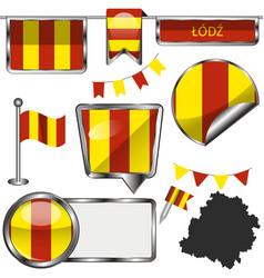 flag lodz poland vector image