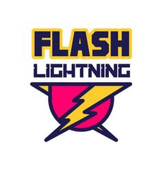 flash lightning logo badge with lightning symbol vector image