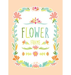 flower frame hand drawn vector image