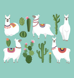 Funny llama animal in vector