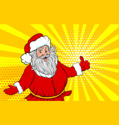 funny old santa pop art style show place text vector image