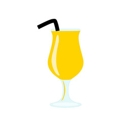 Glass with yellow exotic alcohol cocktail or juice vector