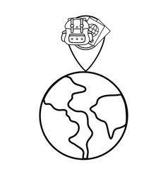 globe with spot place vector image