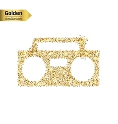 Gold glitter icon of boombox isolated on vector
