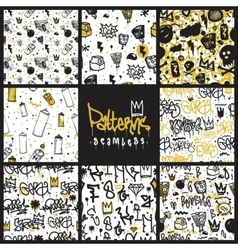 Graffiti seamless patterns set vector image