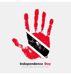 Handprint with the Flag of Trinidad and Tobago in vector