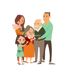 happy family hugging each other cartoon character vector image