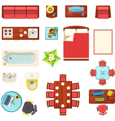 Home Furniture Top View Set vector image