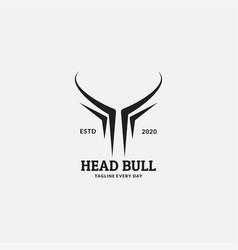 Horn skull line minimalist style modern logo vector