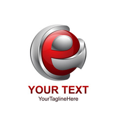 Initial letter e logo template colored grey red vector