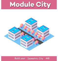 isometric 3d module block district part vector image