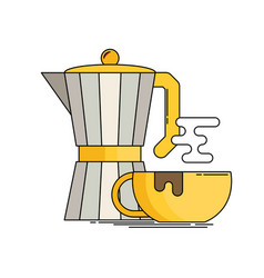 Italian coffee maker and cup flat icon vector