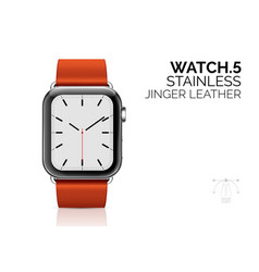 iwatch with ginger leather bracelet realistic vector image