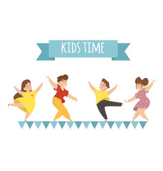 Kids time horizontal banner happy children rejoice vector