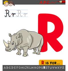 letter r worksheet with rhinoceros animal vector image