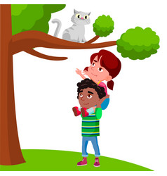 little girl sits on the boy shoulders and pulls vector image