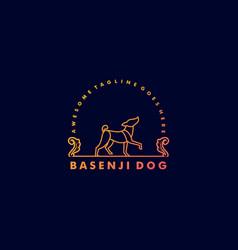 Logo dog pose vintage badge style vector