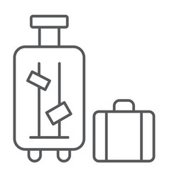 luggage thin line icon suitcase and bag baggage vector image