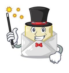 Magician envelope opened on shape white mascot vector