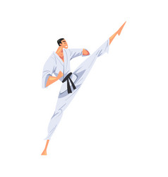 Man karateka doing high leg kick male karate vector