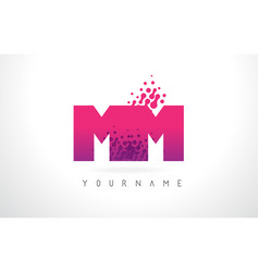 Mm m m letter logo with pink purple color and vector