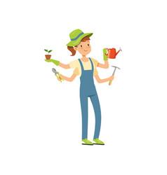 Multitasking gardener character girl with many vector