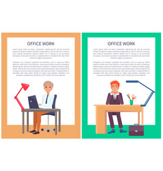 office work poster text sample males sit workplace vector image