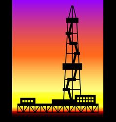 Oil derrick landscape vector