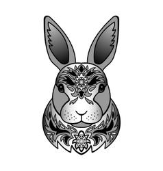 Ornamental black rabbit vector