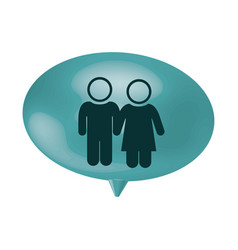 oval speech with pictogram of couple vector image