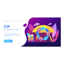Peer-to-peer insurance concept landing page vector
