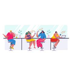people drinking coffee cartoon trendy characters vector image