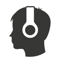 Person profile earphone icon vector