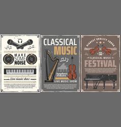 piano violin harp music instruments microphones vector image
