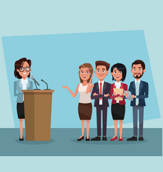 politician speaking with microphone vector image